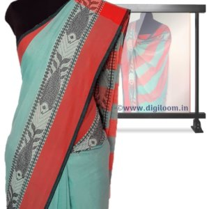 Turquoise Green Bengal Handloom Cotton Saree with intricate fish motif