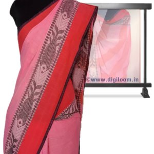 Pink Colour Bengal handloom Cotton Saree with intricate fish motif