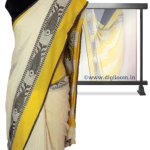 Cream Bengal Handloom Cotton Saree with intricate fish motif