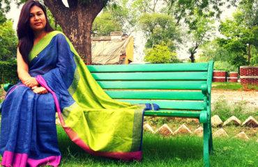 Indian Youtuber Anjalee Sharma in Handloom Linen Saree