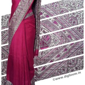 Fuchsia Pink Mulberry Silk Saree with Madhubani Prints