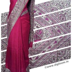 Fuchsia Pink Mulberry Silk Saree with Madhubani Prints
