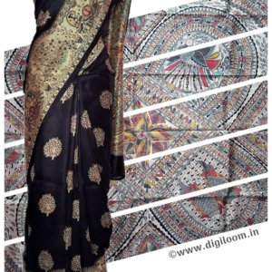 Black Mulberry Silk Saree with Madhubani Prints