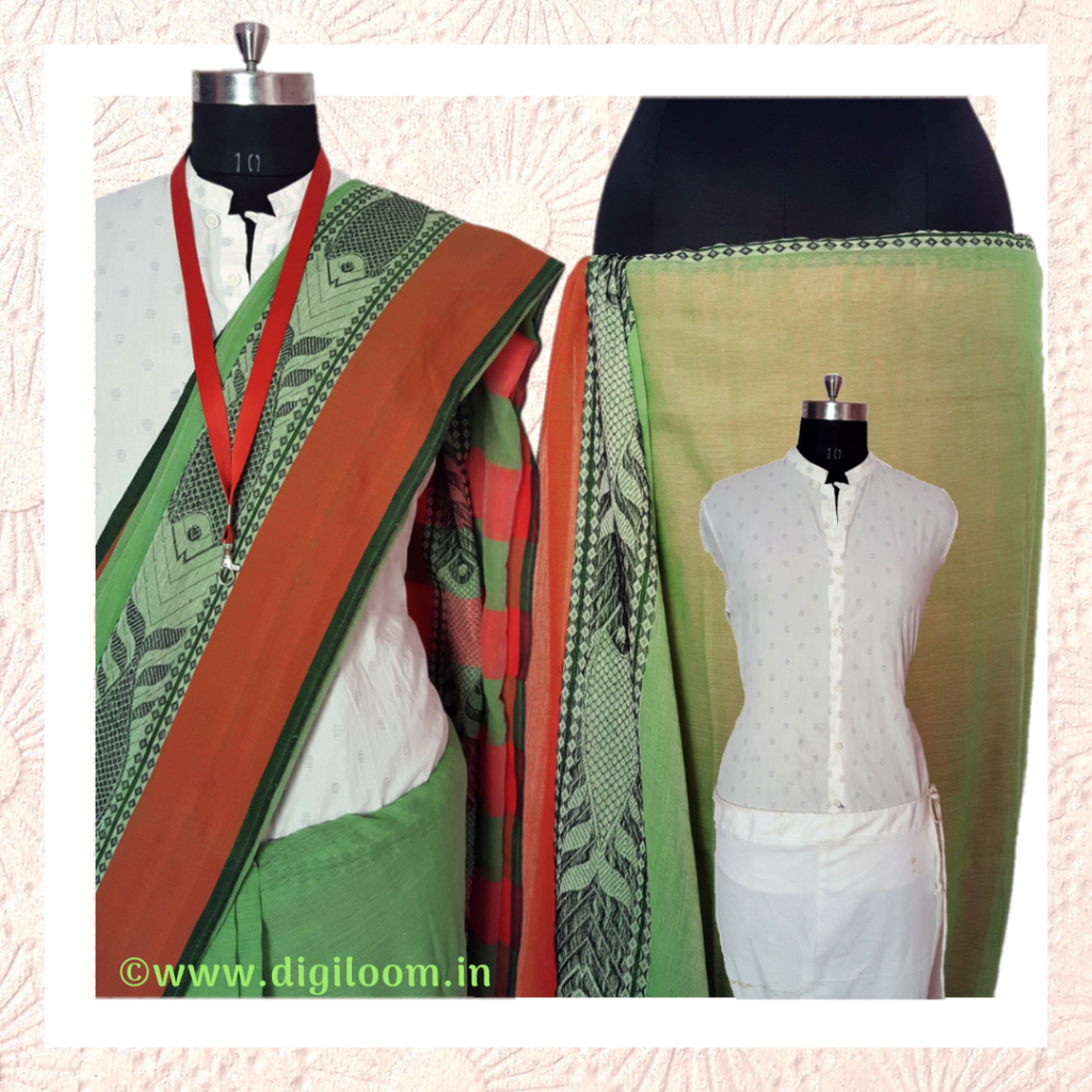Handloom saree and a shirt for corporate loom