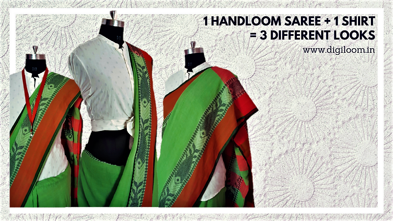 different looks with handloom saree and a shirt