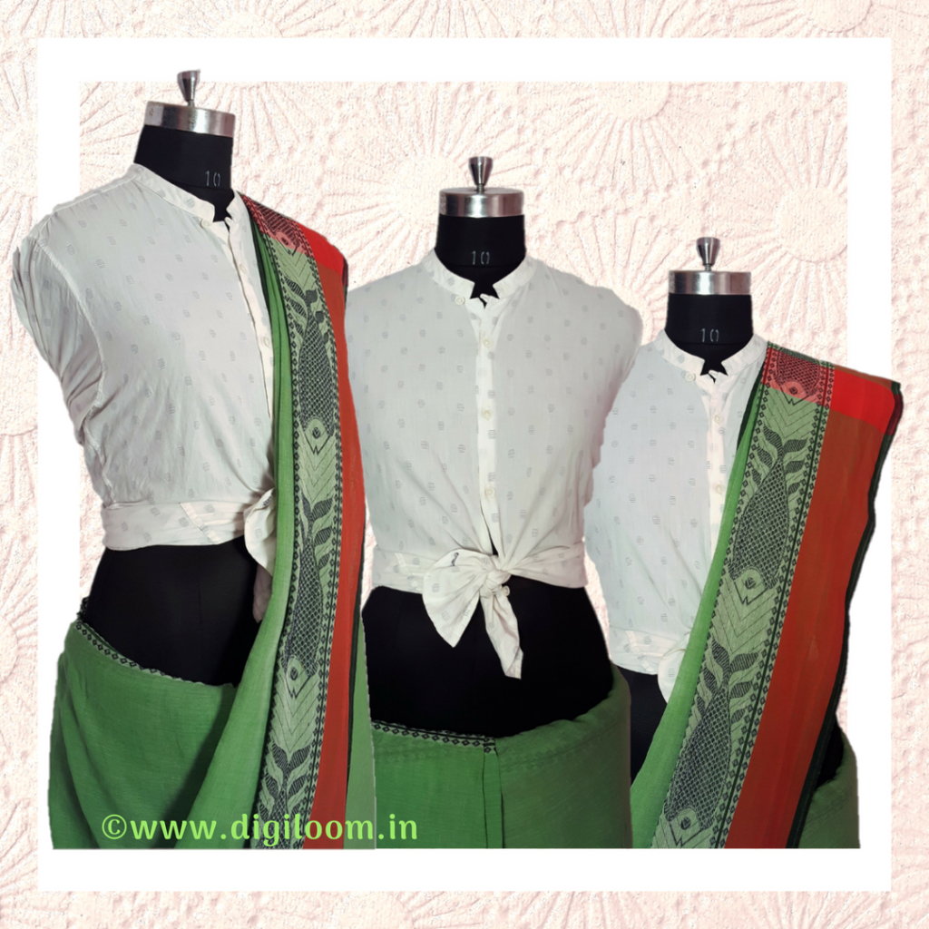 handloom saree and a shirt for party look
