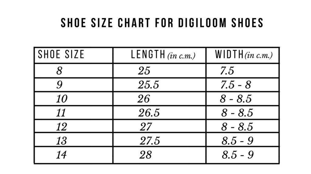 shoe size chart a