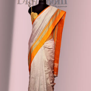Bengal Handloom Cotton Silk Saree in Ash Grey Colour with Contrast Pallu