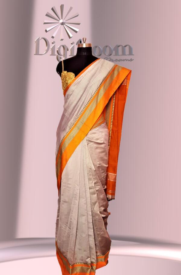 Bengal Handloom Cotton Silk Saree in Ash Grey Colour with Contrast Pallu