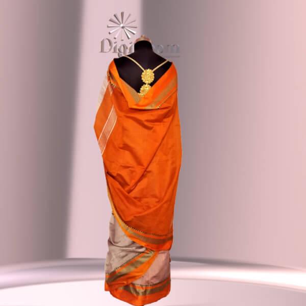 Bengal Handloom Cotton Silk Saree in Ash Grey Colour with Contrast Pallu-c