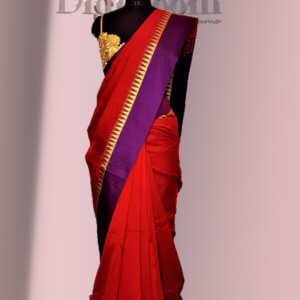 Bengal Handloom Cotton Silk Saree in deep red colour with a contrast Pallu