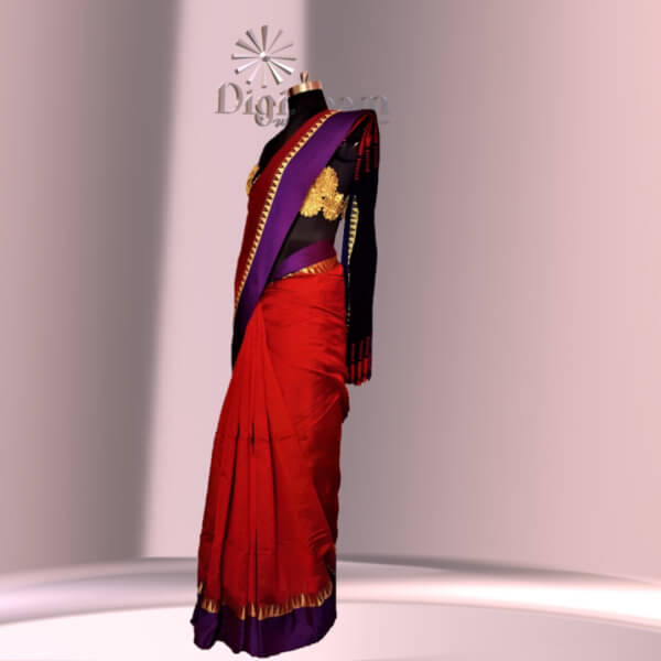 Bengal Handloom Cotton Silk Saree in deep red colour with a contrast Pallu-b