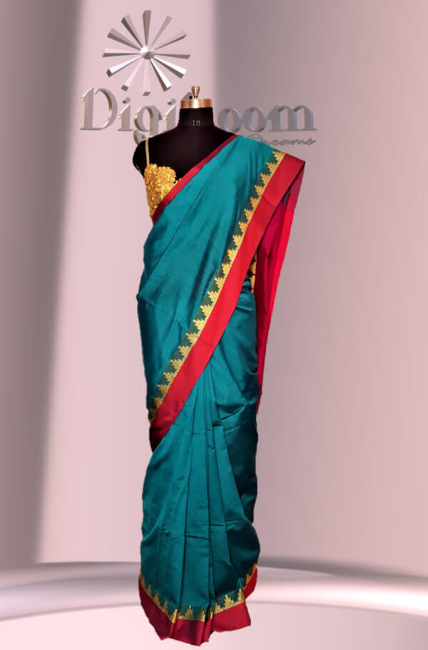 Bengal Handloom Cotton Silk Saree in Turquoise Blue Colour with Contrast Pallu