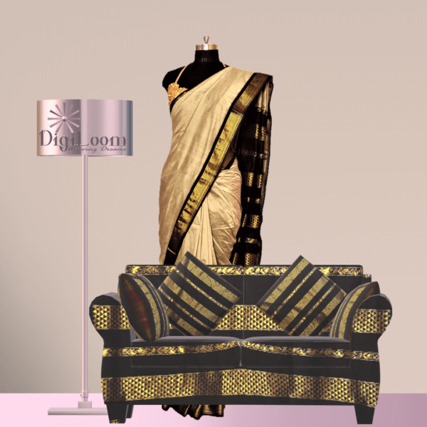 a Bengal Handloom Cotton Silk Saree in Beige Colour with Contrast Pallu