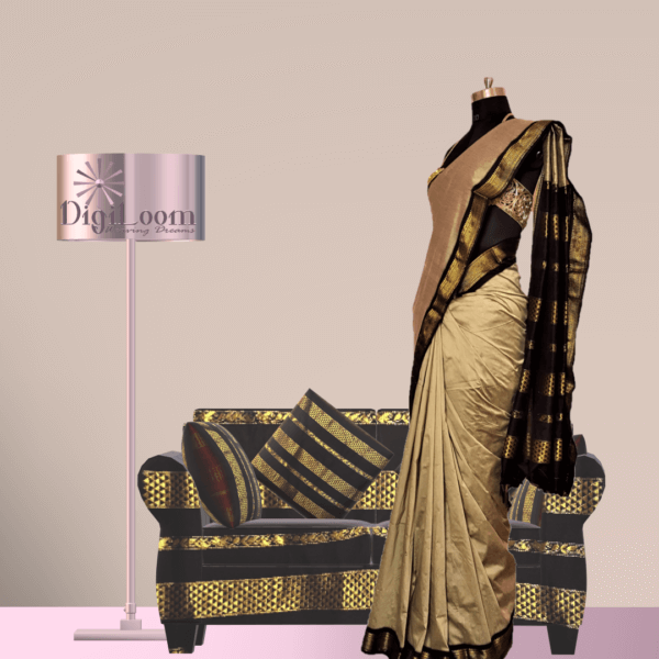 c Bengal Handloom Cotton Silk Saree in Beige Colour with Contrast Pallu