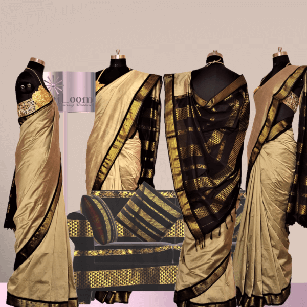 Bengal Handloom Cotton Silk Saree in Beige Colour with Contrast Pallu