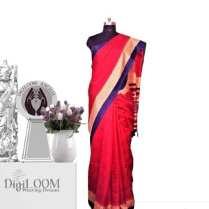 Red Handloom Moonga Mulberry Silk Saree