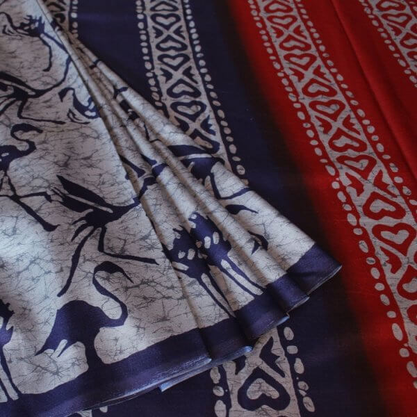 Handloom Tussar Silk Saree with Siberian Crane Silhouettes Prints e