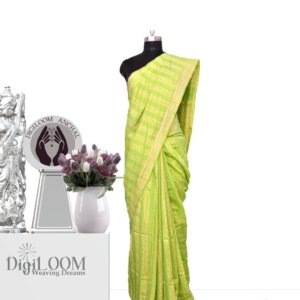 lime green handloom jute silk war
