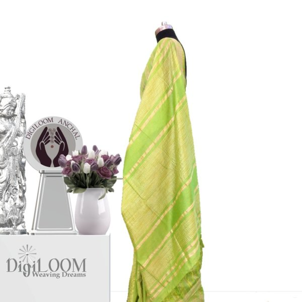lime green handloom jute silk war 2