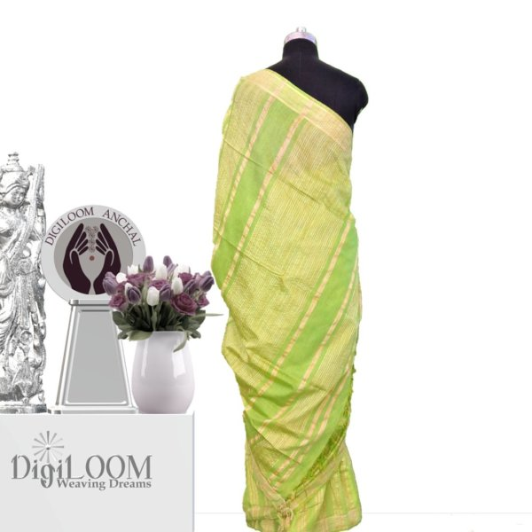 lime green handloom jute silk war 3