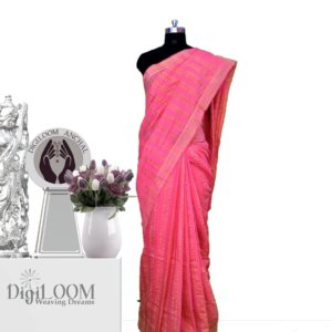 pink handloom jute silk saree a