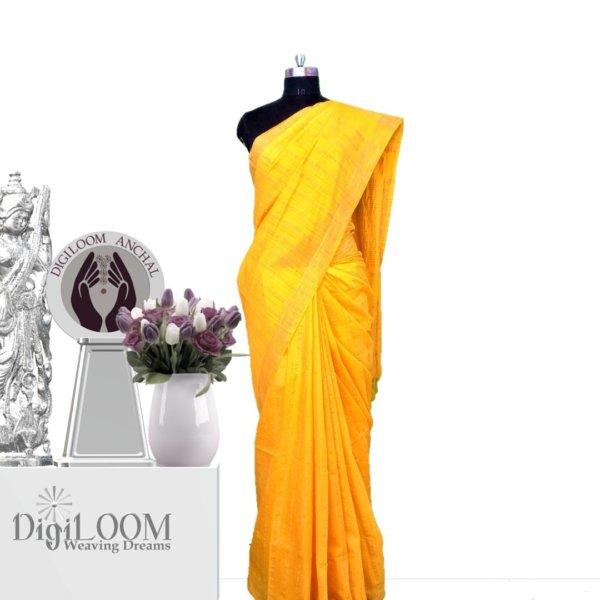 yellow handloom jute silk saree a