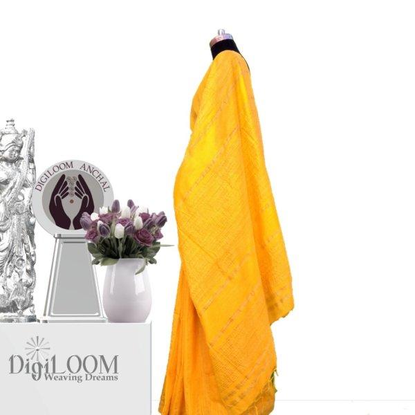 yellow handloom jute silk saree b