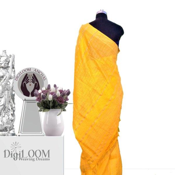 yellow handloom jute silk saree c