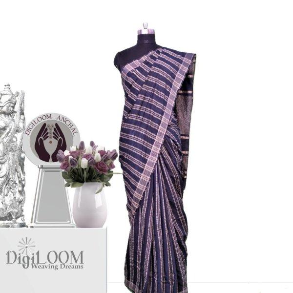 black handloom jute silk saree