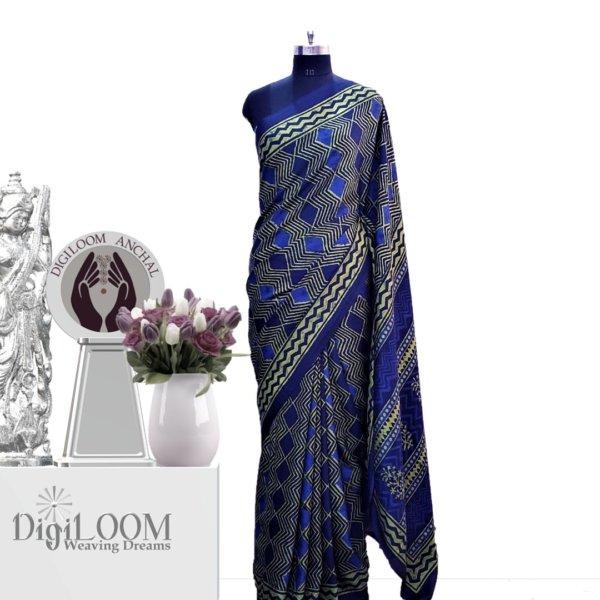 Handloom Tussar Silk Saree in Aquamarine Colour