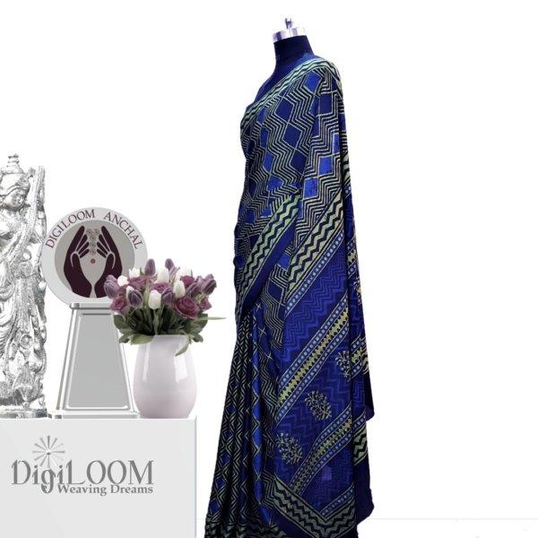Handloom Tussar Silk Saree in Aquamarine Colour 1