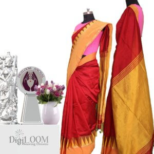 Vibrant Red Handloom Bailu Saree with Contrast Border and Pallu
