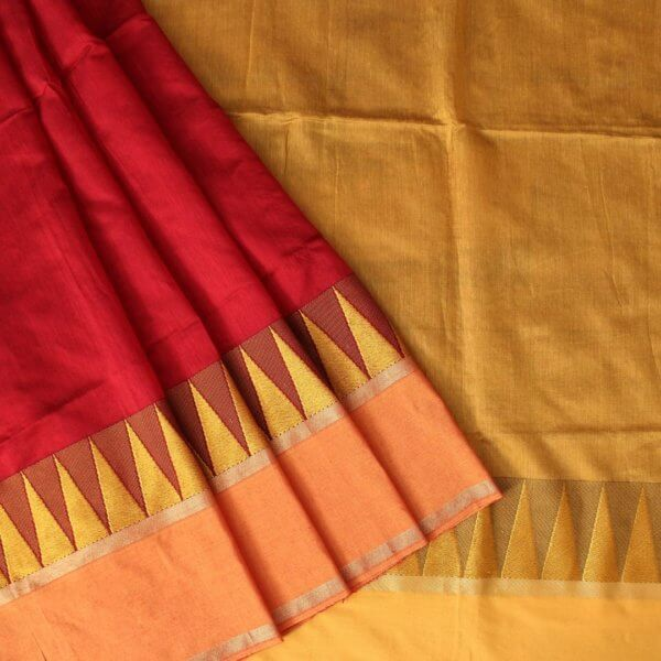 Vibrant Red Handloom Bailu Saree with Contrast Border and Pallu - b