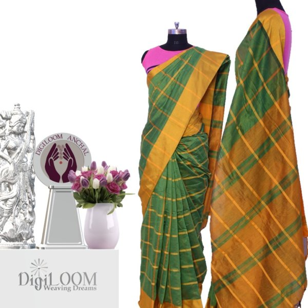 Handloom Bailu Saree in Green and Yellow Checks