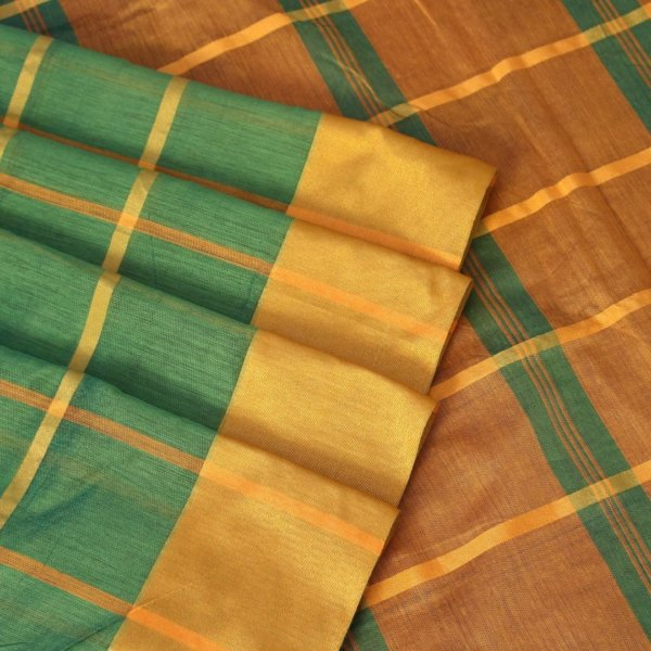 Handloom Bailu Saree in Green and Yellow Checks a