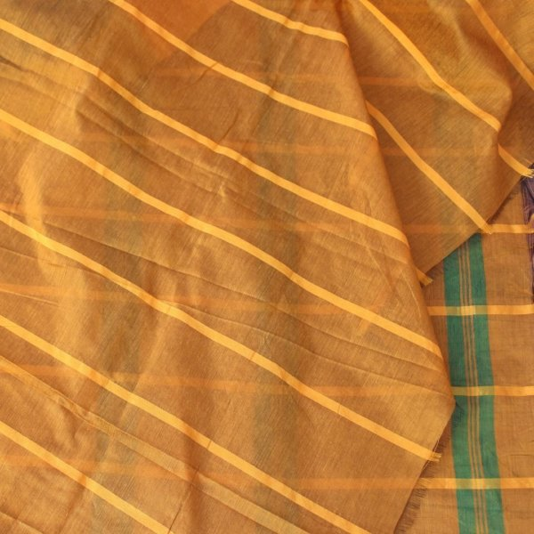 Handloom Bailu Saree in Green and Yellow Checks b