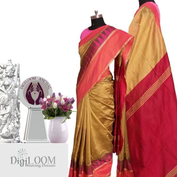 Handloom Bailu Saree in Mehandi Colour with Contrast Pallu and Border DLBS1005-a