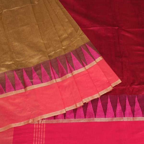 Handloom Bailu Saree in Mehandi Colour with Contrast Pallu and Border DLBS1005-b