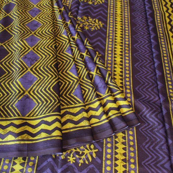 Handloom Tussar Silk Saree in Aquamarine Colour e