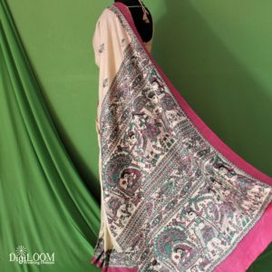 Khadi Saree with madhubani prints by Digiloom 5