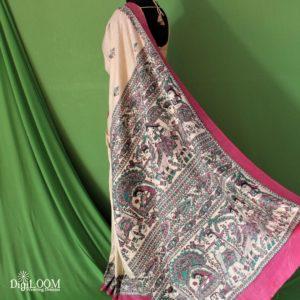 Khadi Saree with madhubani prints by Digiloom 5