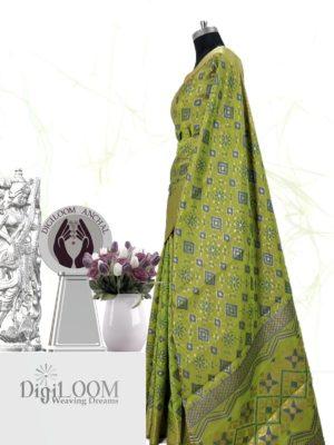 Classic Handloom Patola Silk Saree in Lime Green 3