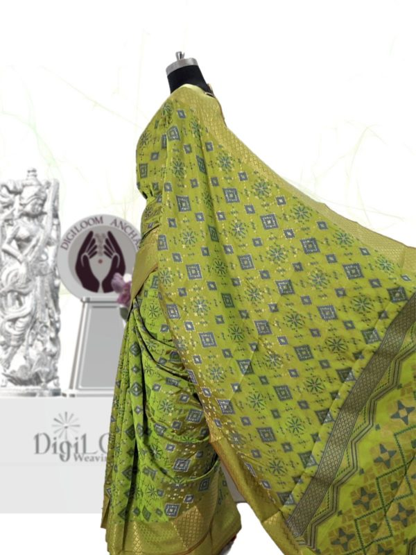 Classic Handloom Patola Silk Saree in Lime Green 4