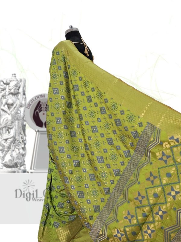 Classic Handloom Patola Silk Saree in Lime Green 5