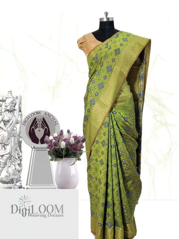 Classic Handloom Patola Silk Saree in Lime Green