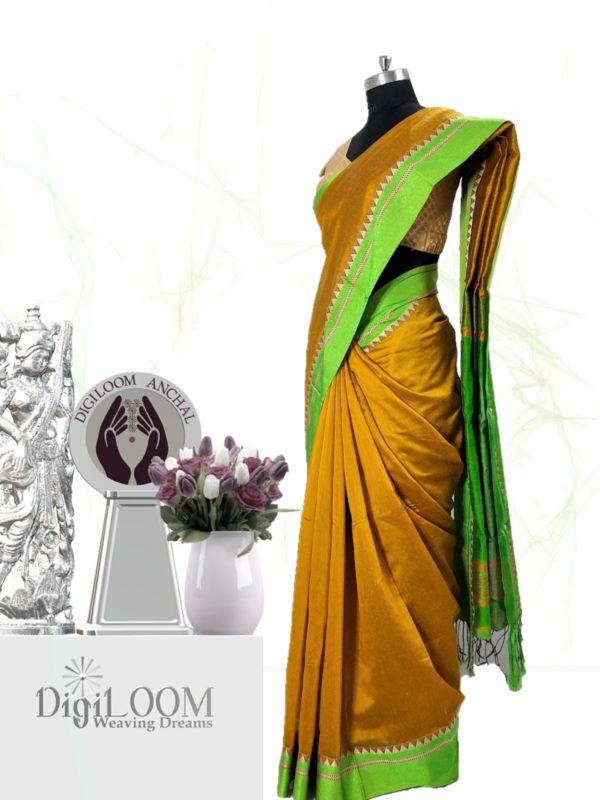 Digiloom Bengal Handloom Cotton Silk Saree in Mehandi Green Colour 2