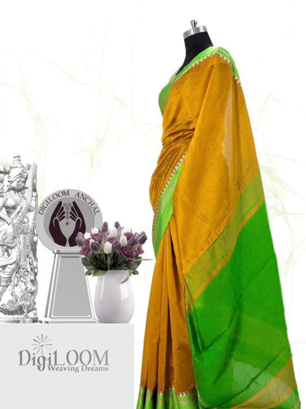 Digiloom Bengal Handloom Cotton Silk Saree in Mehandi Green Colour 3