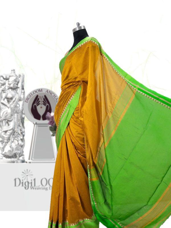 Digiloom Bengal Handloom Cotton Silk Saree in Mehandi Green Colour 4