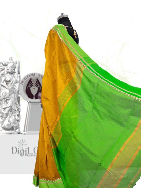 Digiloom Bengal Handloom Cotton Silk Saree in Mehandi Green Colour 25